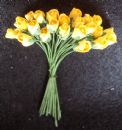 25 Mini Mulberry Paper Rose Buds Yellow